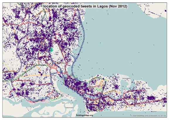 Lagos - Crowdmap of Tweets