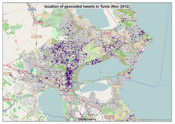 Tunis - Crowdmap of Tweets